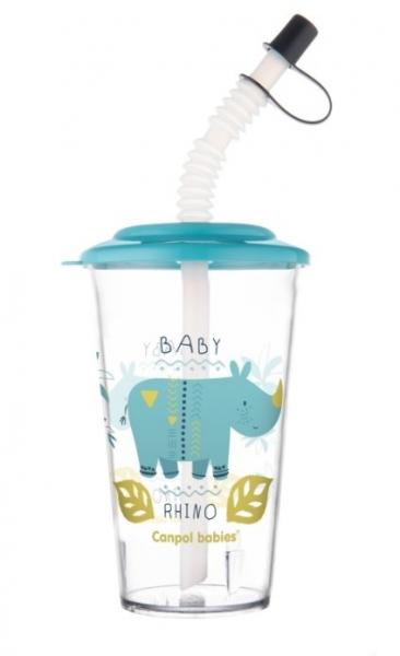 Canpol Babies Pohárik s uzatvárateľnou slamkou, Rhino, modrá, 320 ml