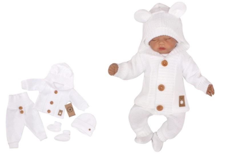 Z & Z 4-dielna kojenecká súpravička, kabátik, tepláčky, čiapočka a topánočky -biela,vel.74