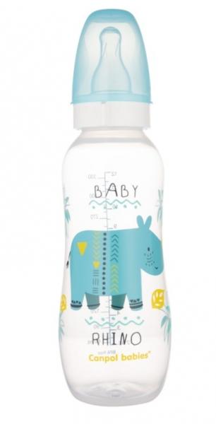 Canpol babies Fľaša s potlačou Rhino 250 ml, modrá