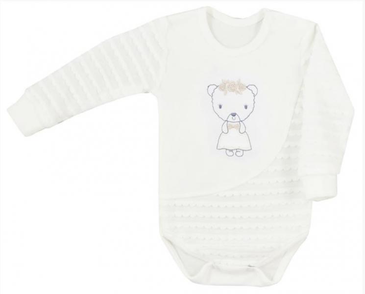 Koala Baby body s dlhým rukávom Dominika - Medvedík, smotanové