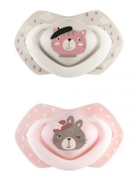 Canpol Babies 2 ks symetrických silikónových cumlíkov, 0-6m, Bonjour Paris, ružová/sivá