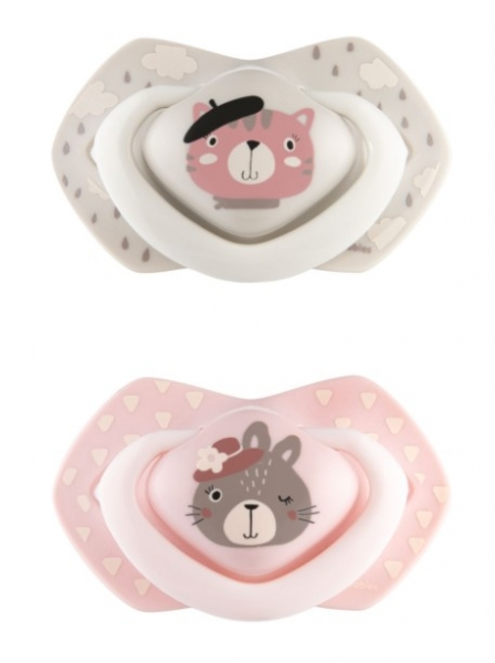Canpol Babies 2 ks symetrických silikónových cumlíkov, +18m, Bonjour Paris, ružová/sivá