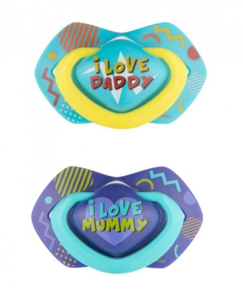 Canpol Babies 2 ks symetrických silikónových cumlíkov, 6-18m, Neon Love Baby, modré