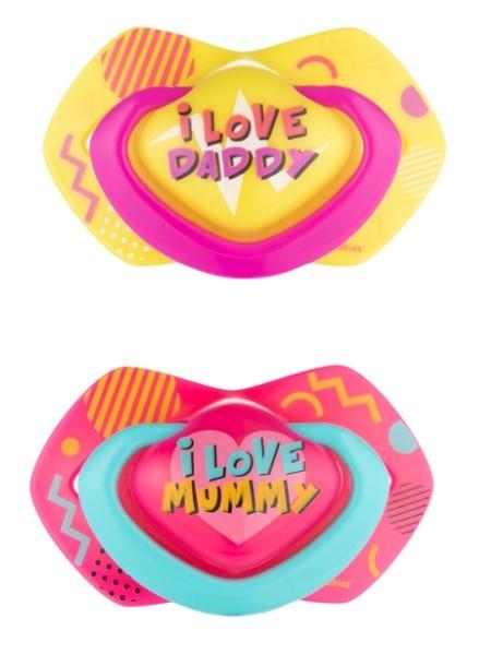 Canpol Babies 2 ks symetrických silikónových cumlíkov, 6-18m, Neon Love Baby, ružovo, žltá