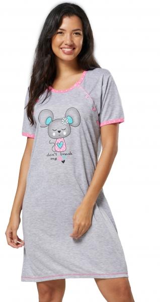 Be MaaMaa Tehotenská, dojčiace nočná košeľa Myška - sivá/růžová, veľ. XXL-#Velikosti těh. moda;XXL (44)
