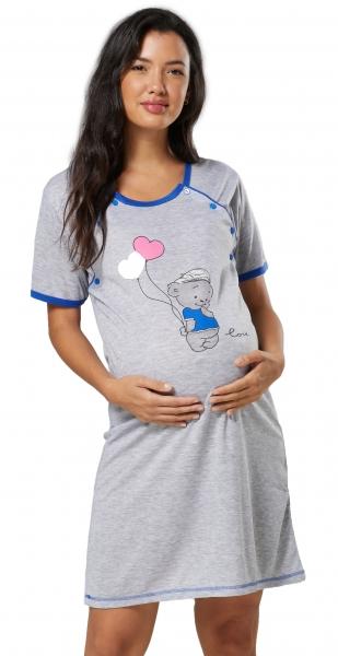 Be MaaMaa Tehotenská, dojčiace nočná košeľa Myška - sivá/svetle modrá, veľ. XXL