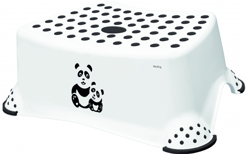 Keeeper Stolička, schodík s protišmykovou funkciou - Panda, biely