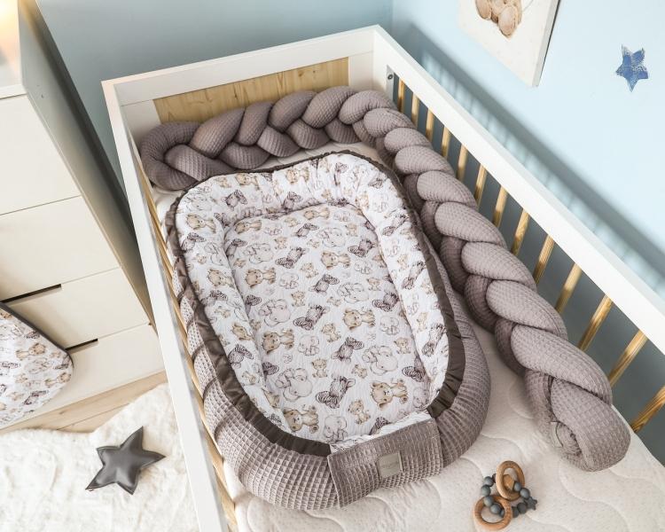 Baby Nellys Obojstranné hniezdočko, kokon Vafel, bavlna LUX, 60 x 90 cm - Safari