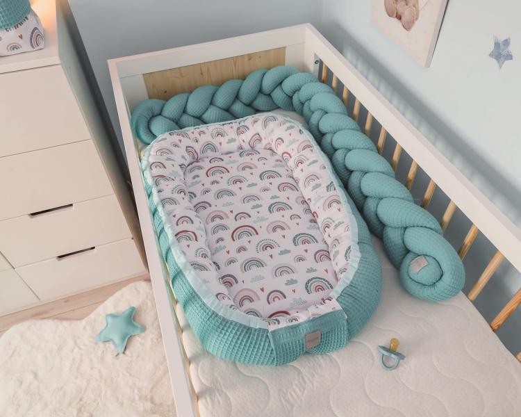 Baby Nellys Obojstranné hniezdočko, kokon Vafel, bavlna LUX, 60 x 90 cm - Dúha, tyrkys