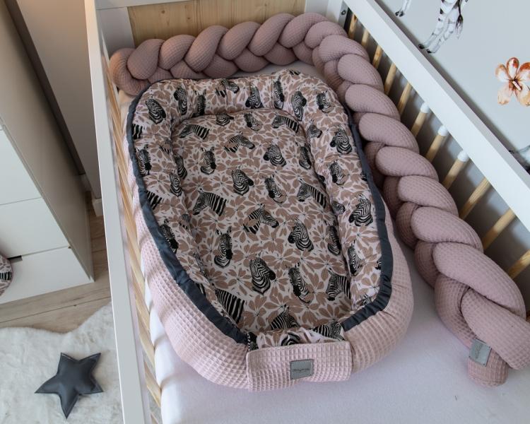 Baby Nellys Obojstranné hniezdočko, kokon Vafel, bavlna LUX, 60 x 90 cm - Zebra