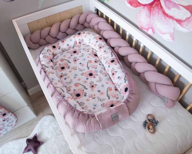 Baby Nellys Obojstranné hniezdočko, kokon Vafel, bavlna LUX, 60 x 90 cm - Vtáčiky