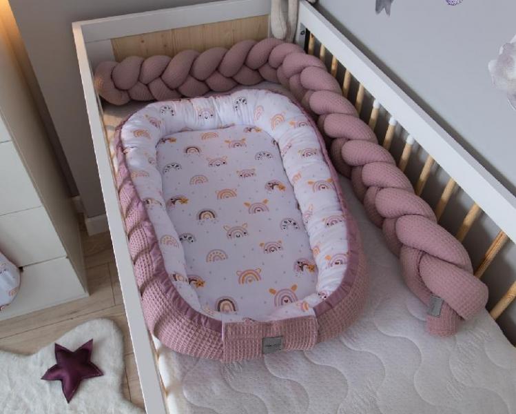 Baby Nellys Obojstranné hniezdočko, kokon Vafel, bavlna LUX, 60 x 90 cm - Dúha, púdrová-#Rozměry;60x90
