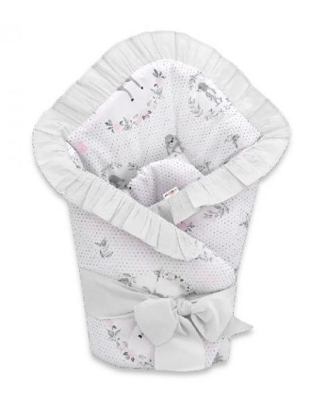 Baby Nellys Rýchlozavinovačka 80 x 80 cm s volánikom a stuhou - Koloušek, ružová, sivá