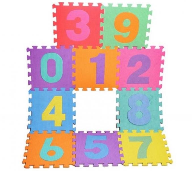 Tulimi Detské penové puzzle 29 x 29 cm, Číslice - farebné