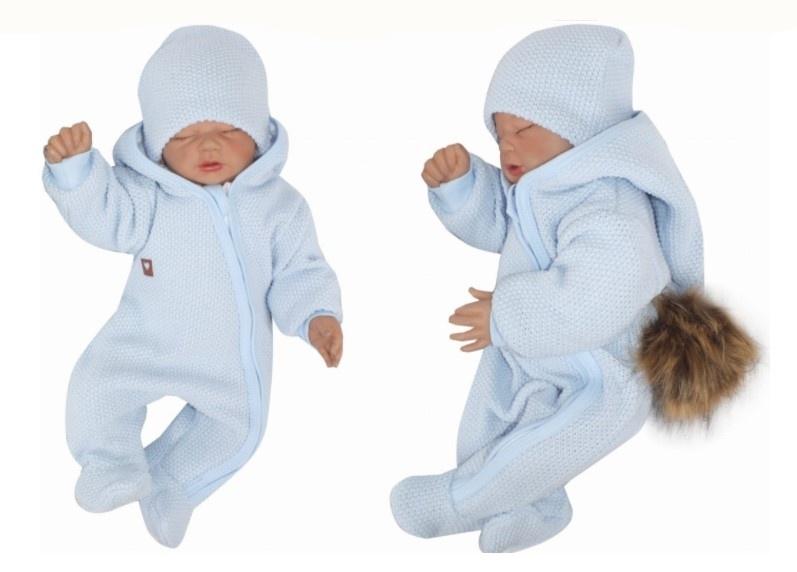 Z&Z Prechodová kombinéza s kapucňou a kožušinovou brmbolcom, modrá, veľ. 80
