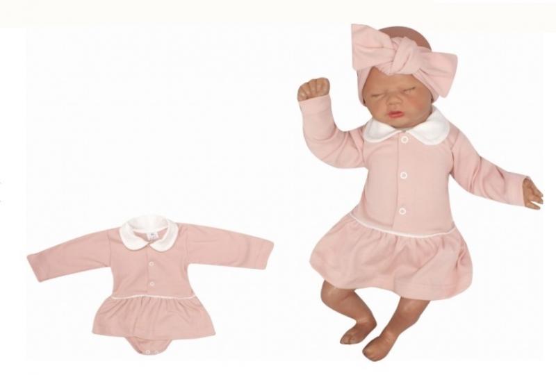 Z&Z Sukničkobody dlhý rukáv s golierom - pudrové-#Velikost koj. oblečení;56 (1-2m)