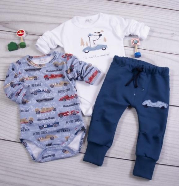K-Baby 3-dielna sada, 2x body dlhý rukáv, tepláčiky - Retro Car, modrá, biela, veľ. 74