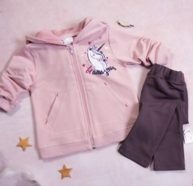 K-Baby 2-dielna Tepláková súprava Unicorn, púdrová, fialová-#Velikost koj. oblečení;68 (4-6m)