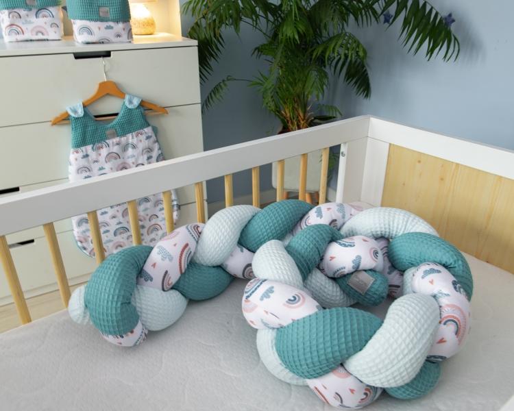 Baby Nellys Mantinel pletený vrkoč Vafel, bavlna LUX,  Dúha - mätová, 220 x 16 cm