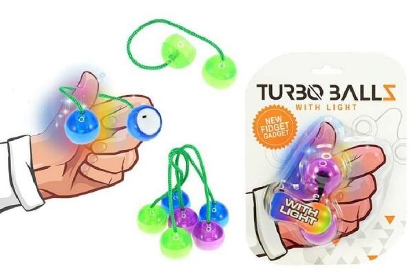 Fidget Turbo Ballz plast na batérie so svetlom asst 4 farby na karte 12x17cm
