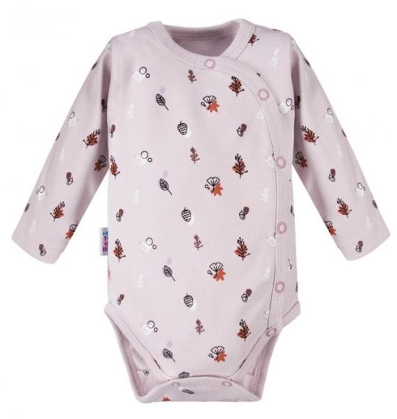 EEVI Dojčenské body dl. rukáv, zapínanie bokom Adventure s potĺačou, béžové, veľ. 62-#Velikost koj. oblečení;62 (2-3m)