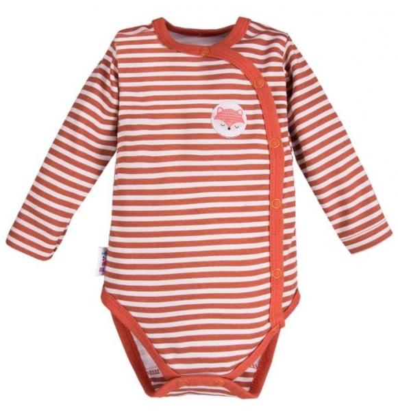 EEVI Dojčenské body dl. rukáv, zapínanie bokom Adventure - Prúžok, cihlová, vel. 62-#Velikost koj. oblečení;62 (2-3m)