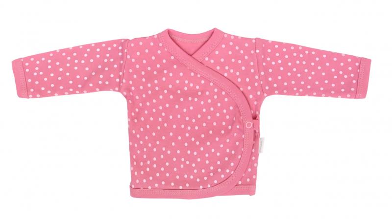 Mamatti Novorodenecká bavlnená košieľka zapínanie bokom, Princezná Bodky - ružová-#Velikost koj. oblečení;50 (0-1m)