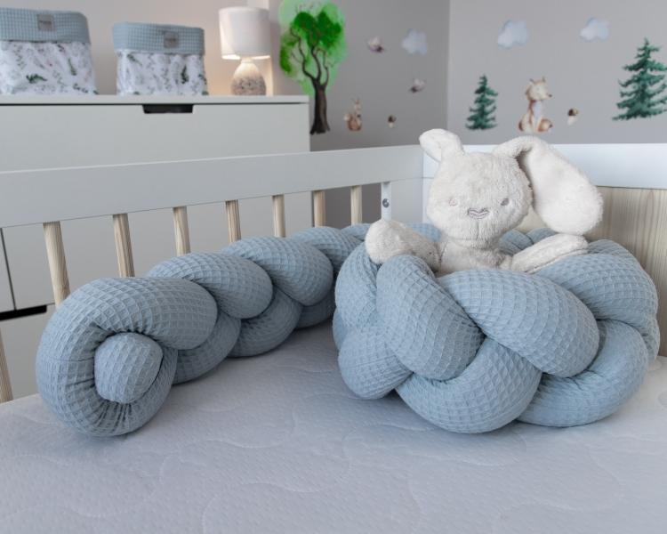 Baby Nellys Mantinel pletený vrkoč Vafel, Papradie, 220 x 16 cm-#Rozměry;220x16