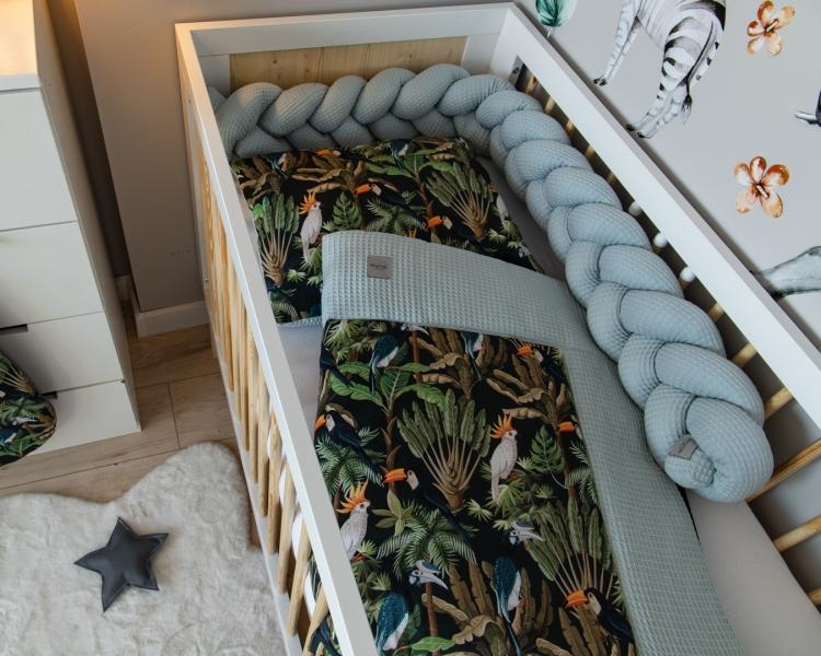 Baby Nellys 2-dielna súprava do postielky -Vafel, bavlna LUX, Papagaj, 135 x 100 cm