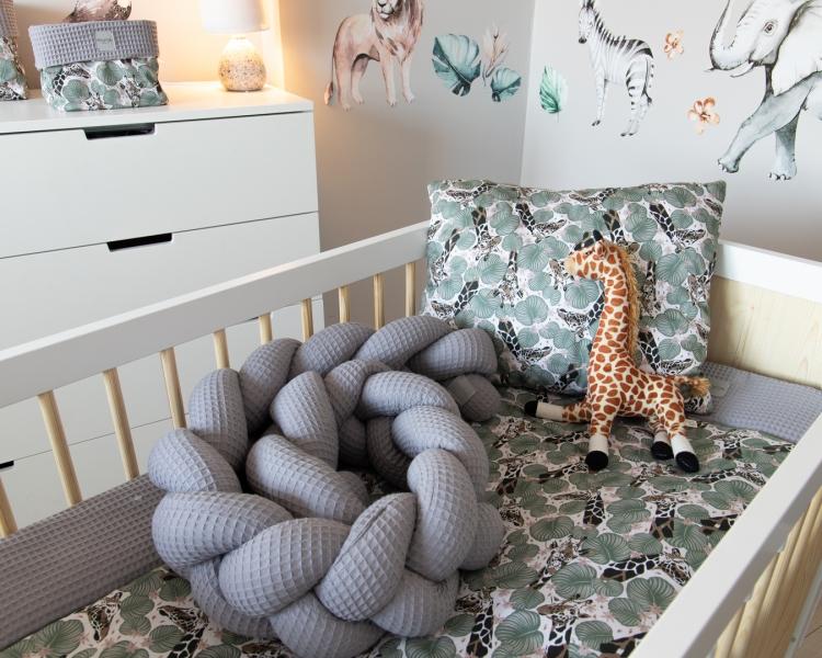 Baby Nellys Mantinel pletený vrkoč Vafel, Žirafa,  220 x 16 cm