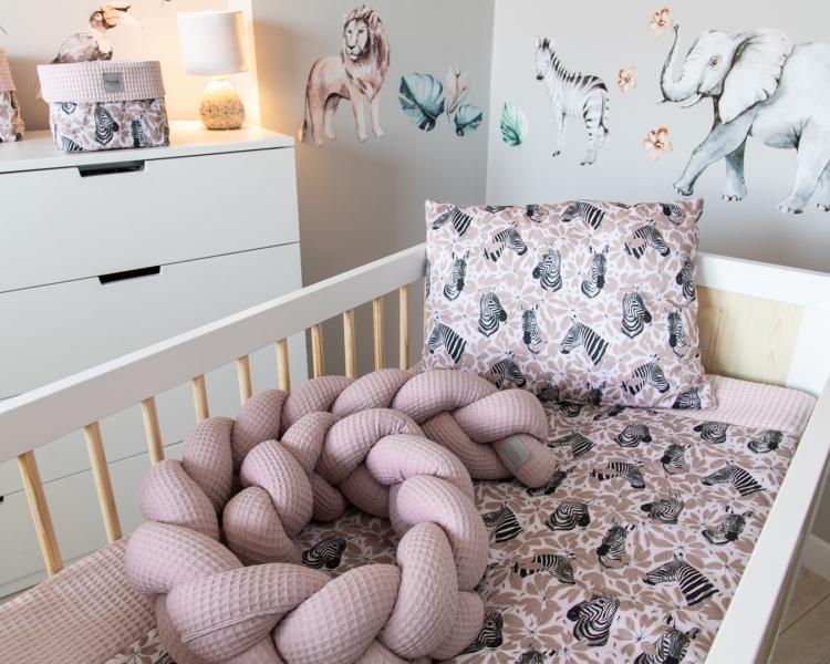 Baby Nellys Mantinel pletený vrkoč Vafel, Zebra, 220 x 16 cm