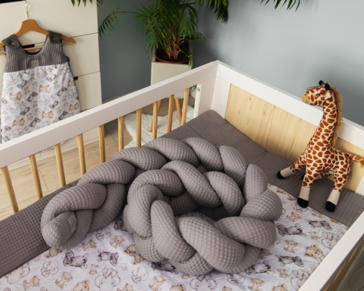 Baby Nellys Mantinel pletený vrkoč Vafel, Safari, 320 x 16 cm-#Rozměry;320x16