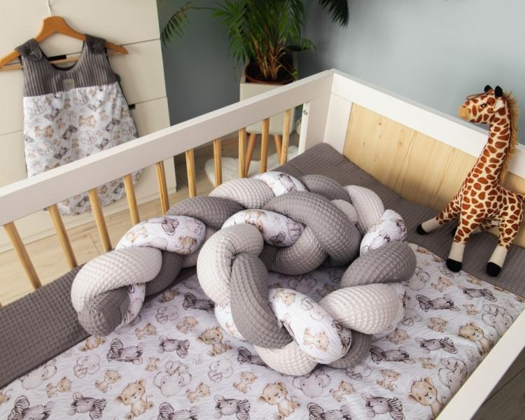 Baby Nellys Mantinel pletený vrkoč Vafel, bavlna LUX, Safari - 220 x 16 cm