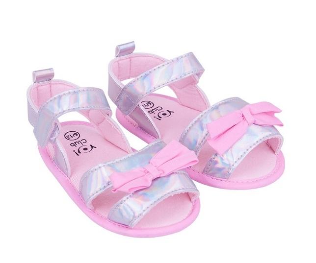 YO! Topánočky, sandálky lesklé s mašličkou - sv. ružové, sivé-#Velikost koj. oblečení;0/6 měsíců