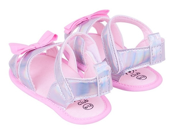 Topánočky, sandálky lesklé s mašličkou - sv. ružové, sivé, 0 - 6 mes
