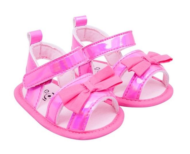 YO! Topánočky, sandálky lesklé s mašličkou - ružové, 6-12 m-#Velikost koj. oblečení;6/12měsíců