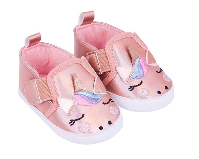 YO! Dojčenské topánky / capáčky Jednorožec - lososové-#Velikost koj. oblečení;0/6 měsíců