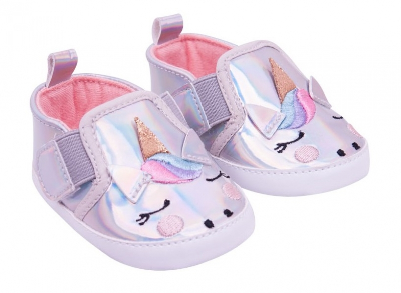YO! Dojčenské topánky / capáčky Jednorožec - sivé-#Velikost koj. oblečení;0/6 měsíců
