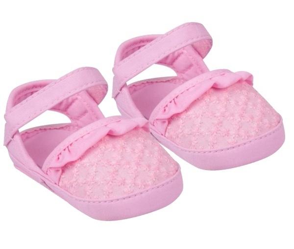 YO! Topánočky, sandálky s volánikom, ružove-#Velikost koj. oblečení;0/6 měsíců