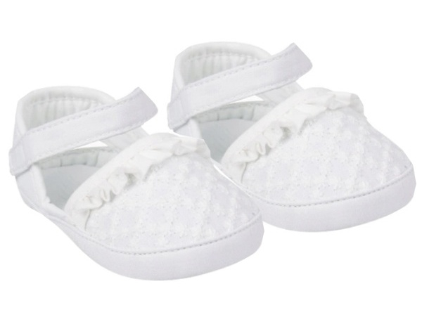 YO! Topánočky, sandálky s volánikom, biele-#Velikost koj. oblečení;0/6 měsíců