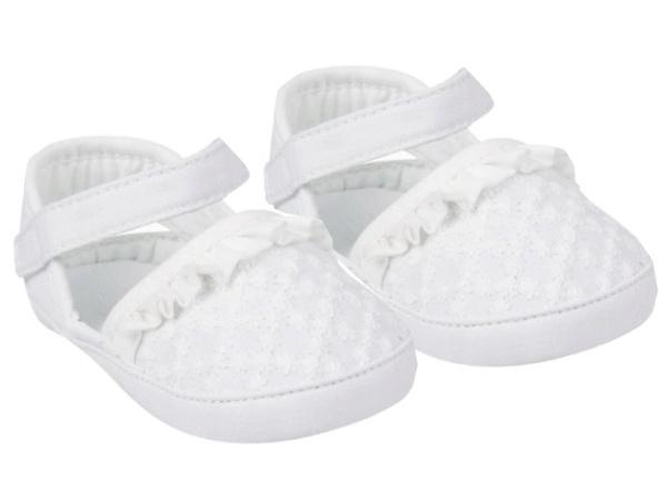 YO! Topánočky, sandálky s volánikom, biele, 6 - 12 m