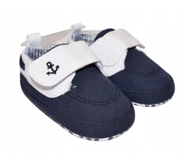 YO! Dojčenské topánky / capáčky Kotvička, granatové-#Velikost koj. oblečení;0/6 měsíců