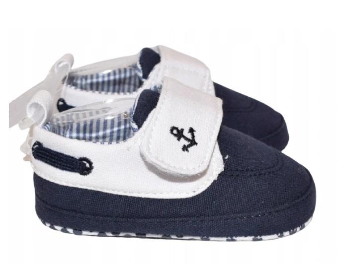 Dojčenské topánky / capáčky Kotvička, granatové, veľ 0 - 6 mes