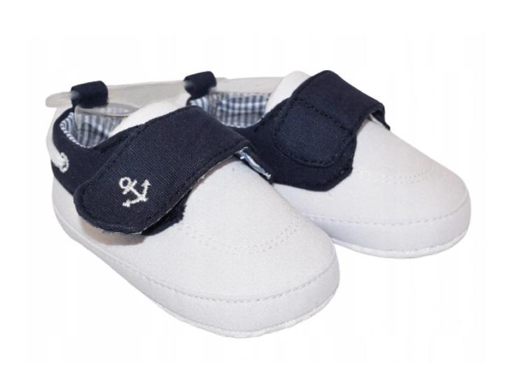 YO! Dojčenské topánky / capáčky Kotvička, biele-#Velikost koj. oblečení;0/6 měsíců
