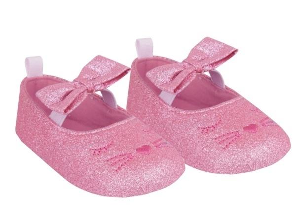 YO! Topánočky, balerínky trblietavé, Mačička, ružové-#Velikost koj. oblečení;0/6 měsíců