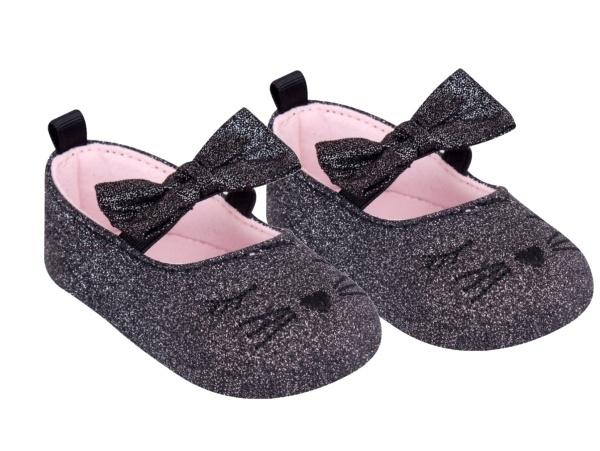 YO! Topánočky, balerínky trblietavé, Mačička, čierne-#Velikost koj. oblečení;0/6 měsíců
