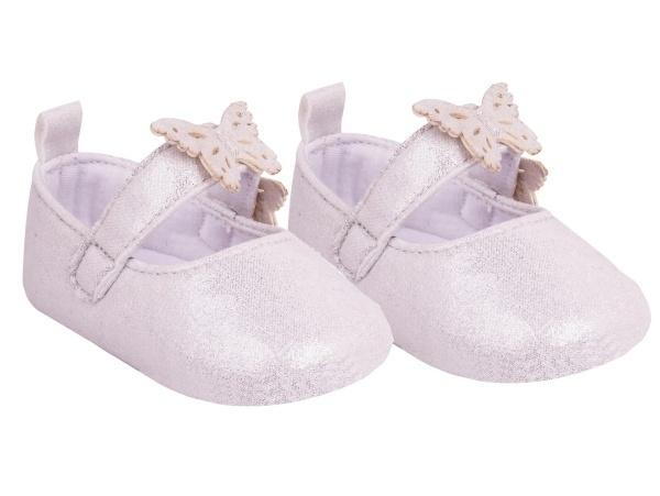 YO! Topánočky, balerínky trblietavé, Motýlik, biela, 6 - 12 m