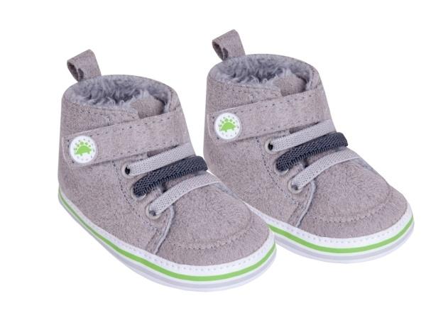 YO! Oteplené dojčenské topánky / capáčky, sivé-#Velikost koj. oblečení;0/6 měsíců