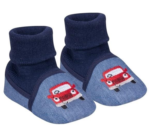 YO! Dojčenské topánky / capáčky Autíčko, modré, granátové-#Velikost koj. oblečení;0/6 měsíců