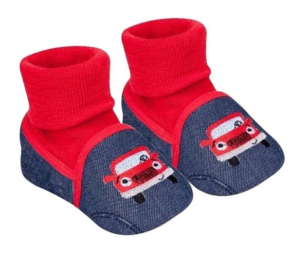 YO! Dojčenské topánky / capáčky Autíčko, čiernej, červenej-#Velikost koj. oblečení;0/6 měsíců